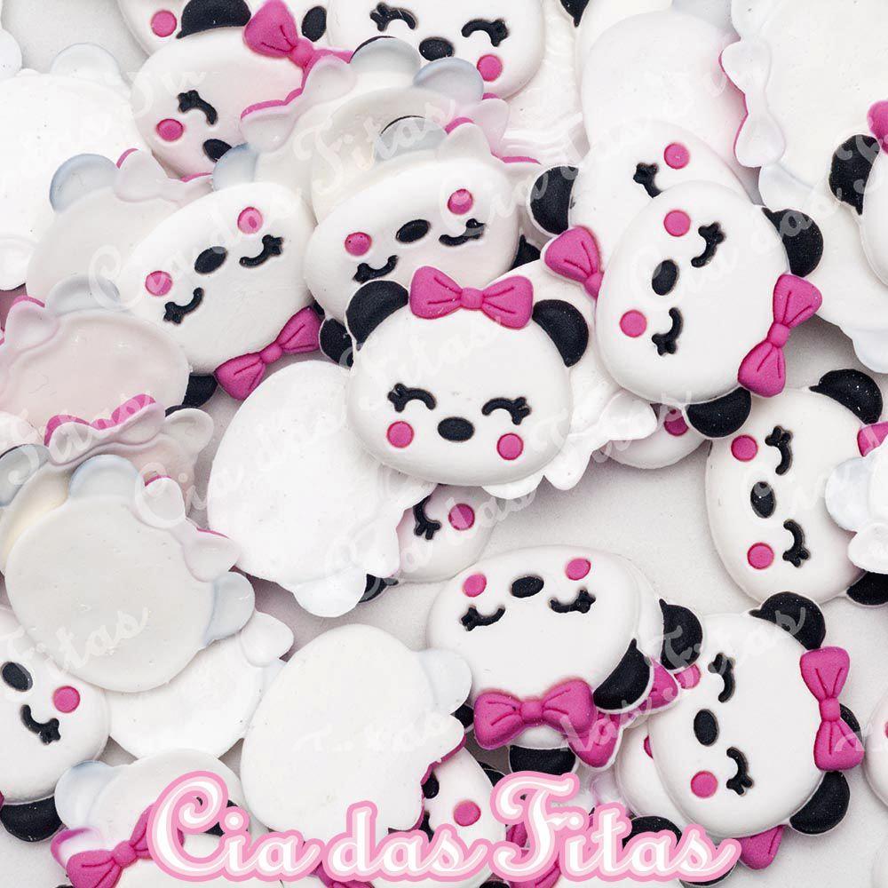 Aplique emborrachado Rostinho Panda Laço Rosa (unidade)
