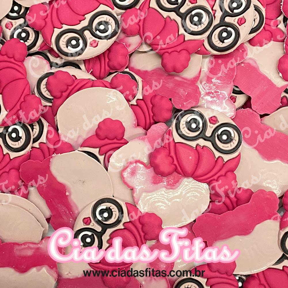 Aplique emborrachado Rosto LOL Cabelo Pink (unidade)