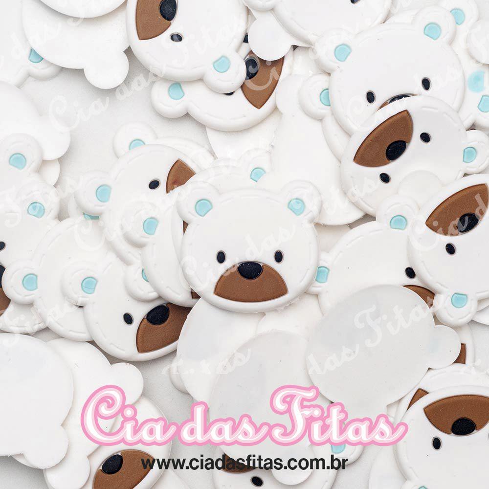 Aplique emborrachado Rosto Urso Branco c/ Marrom (unidade)