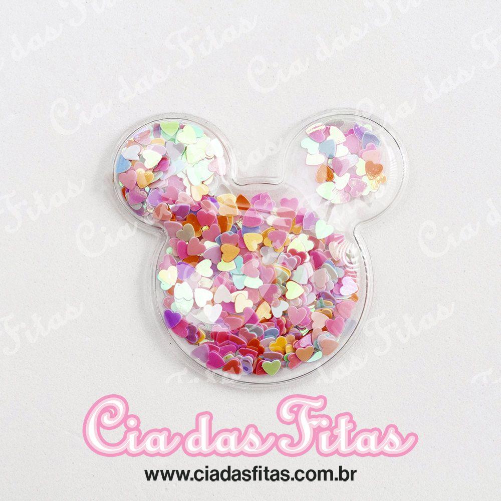 Aplique Minnie Transparente Coração Grande 6cm x 6cm