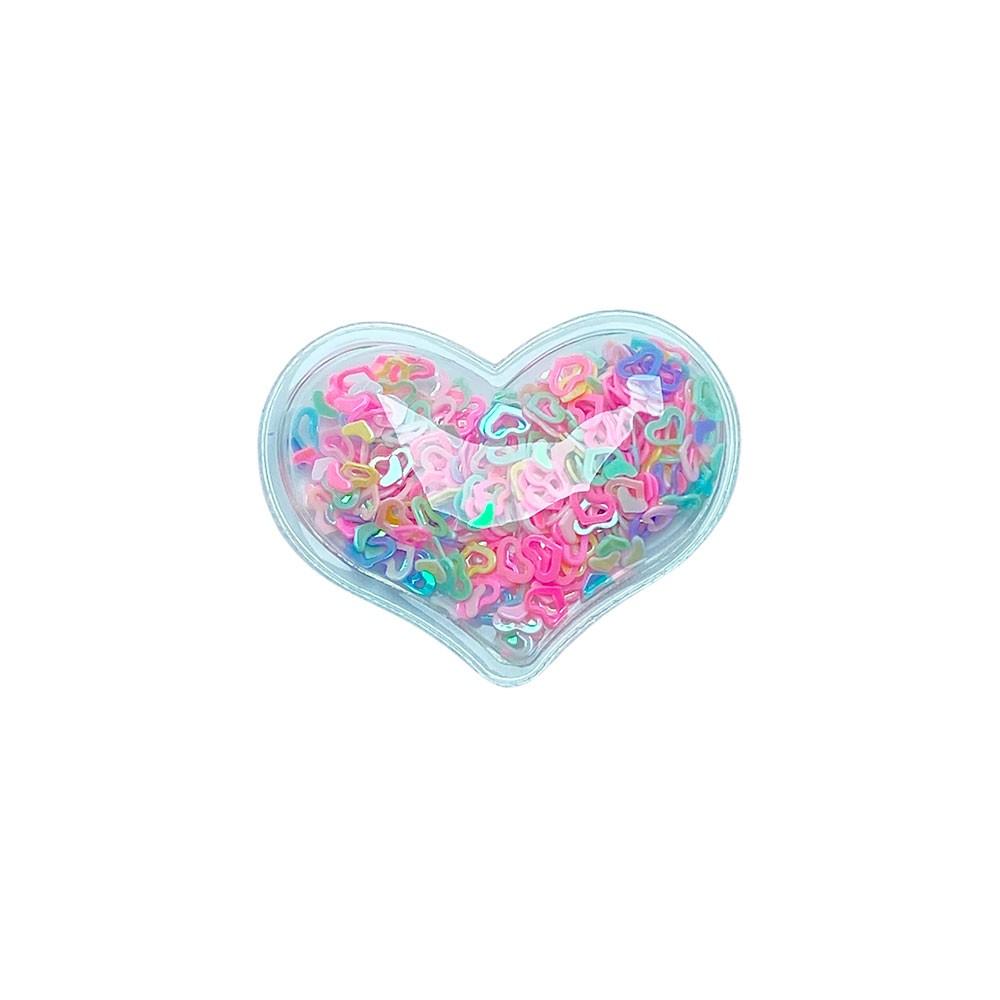 Aplique Transparente coração com Coração Vazado 40x30mm