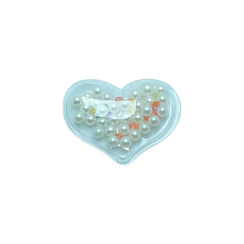 Aplique Transparente coração com Perola 40x30mm