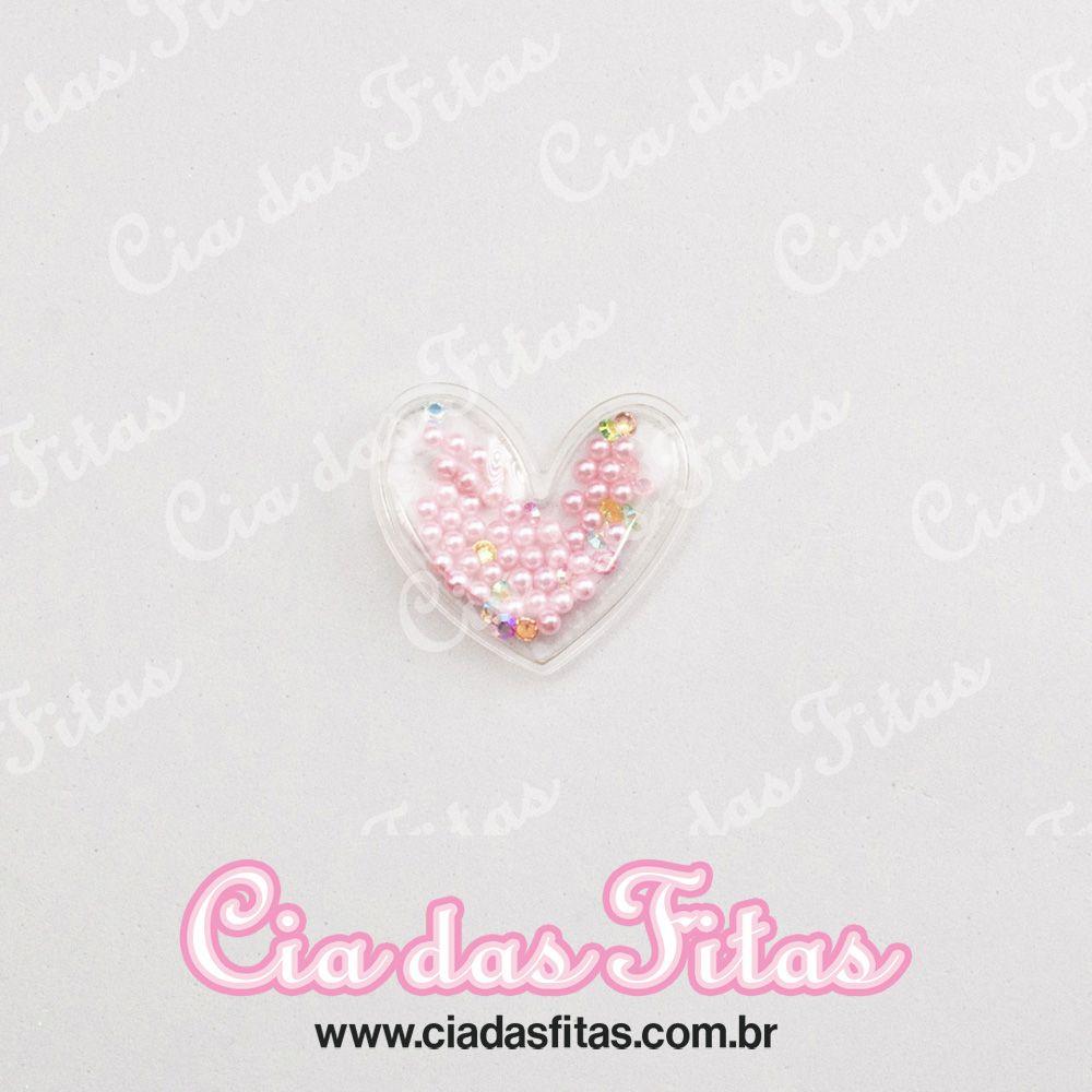Aplique Transparente coração com Perola 5cm