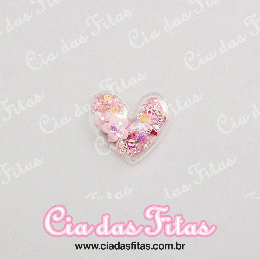 Aplique Transparente Coração Flor Biscuit 5cm