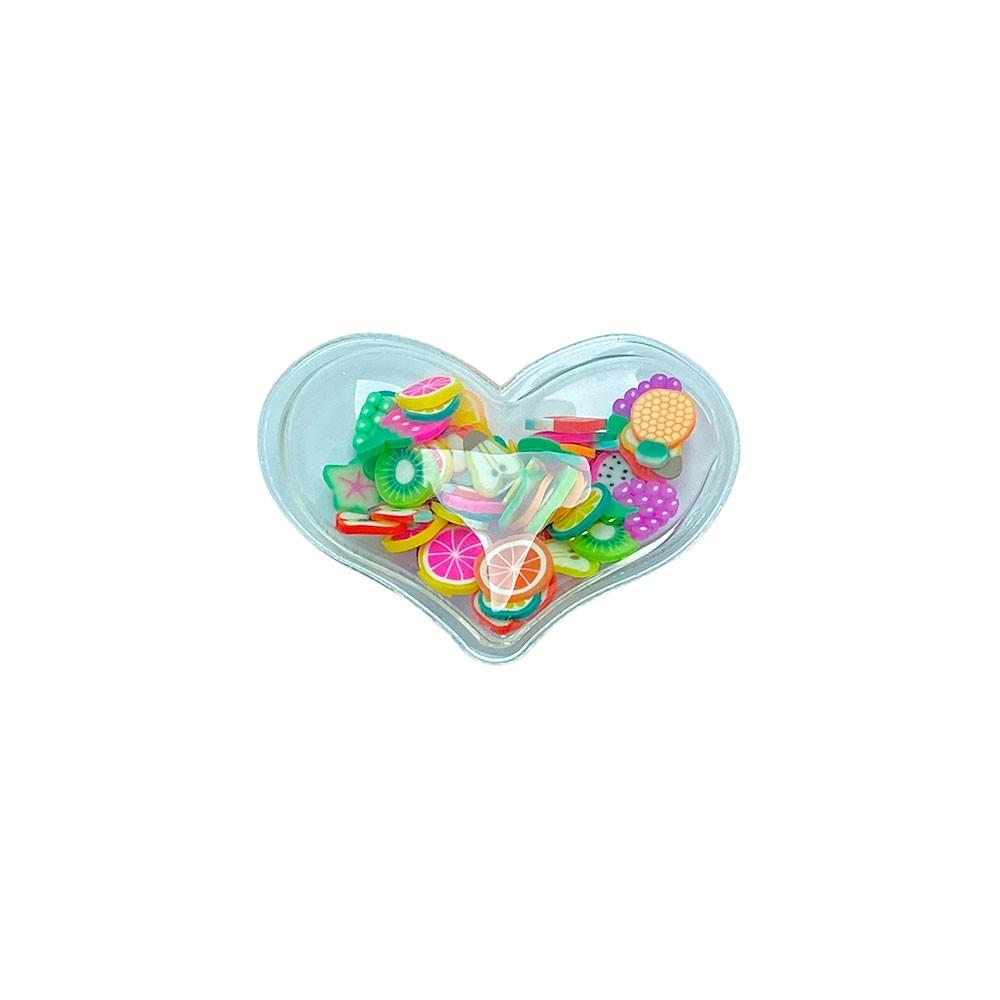 Aplique Transparente coração Salada de Fruta 40x30mm
