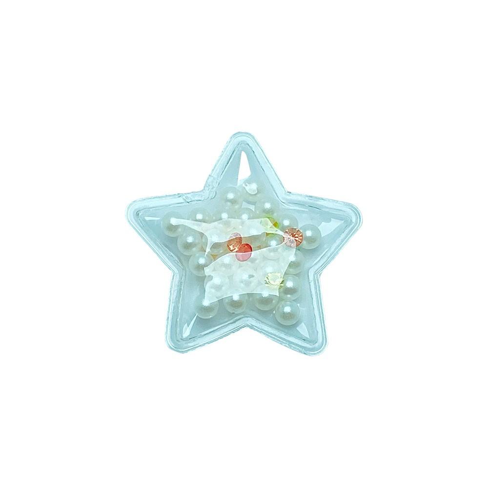 Aplique Transparente Estrelas Perola 38mm