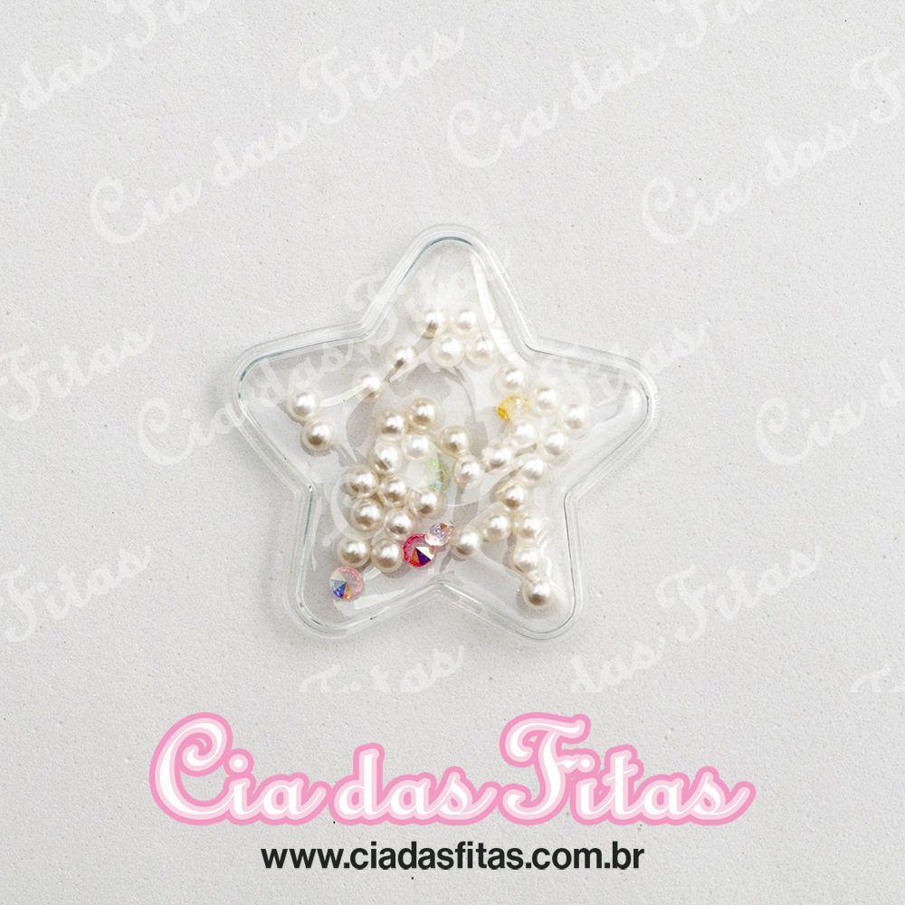 Aplique Transparente Estrelas Perola Branca 5cm