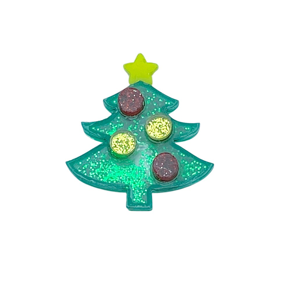 Aplique Vazado de Acrílico  Arvore de Natal Glitter (unidade)