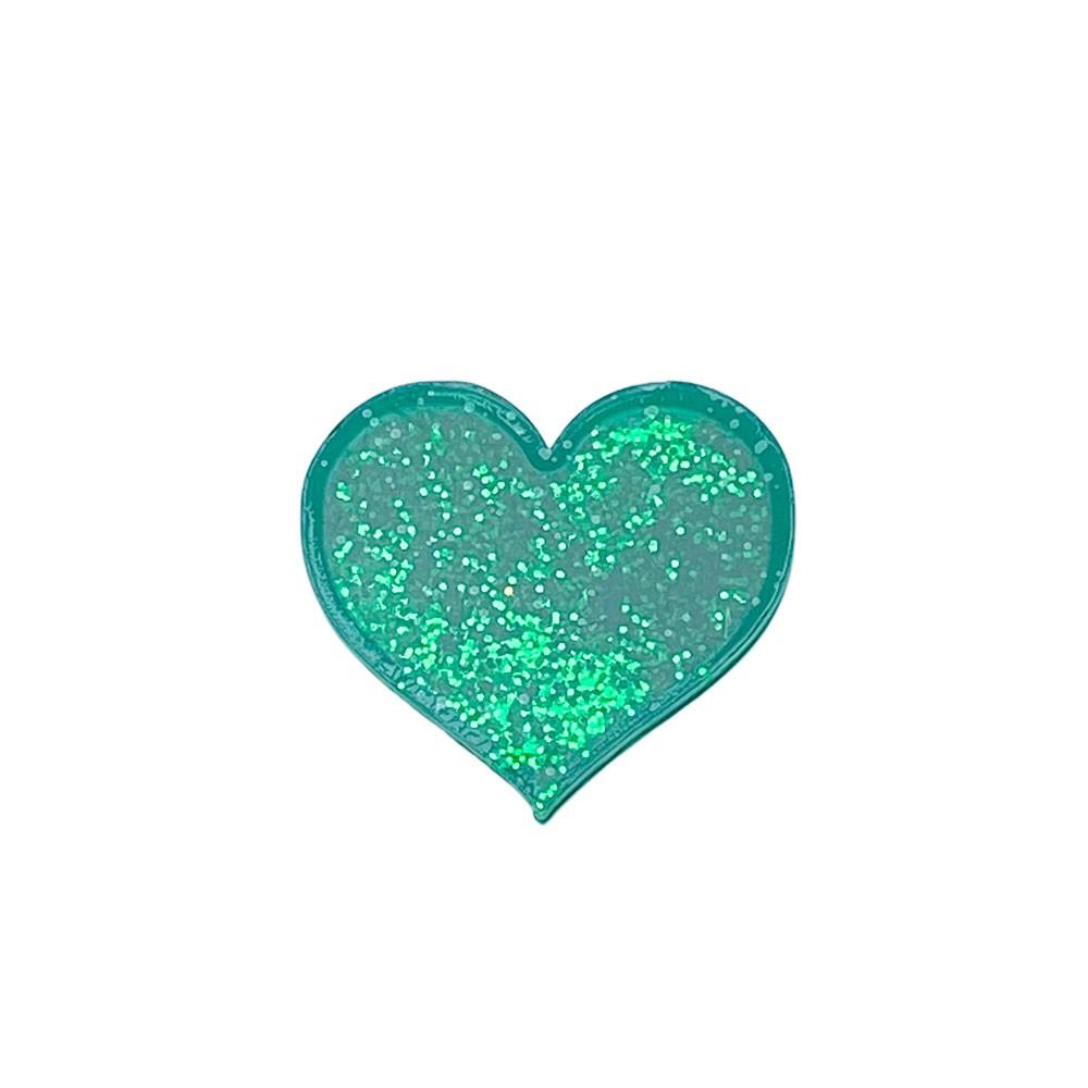 Aplique Vazado de Acrílico Coração verde Glitter (unidade)