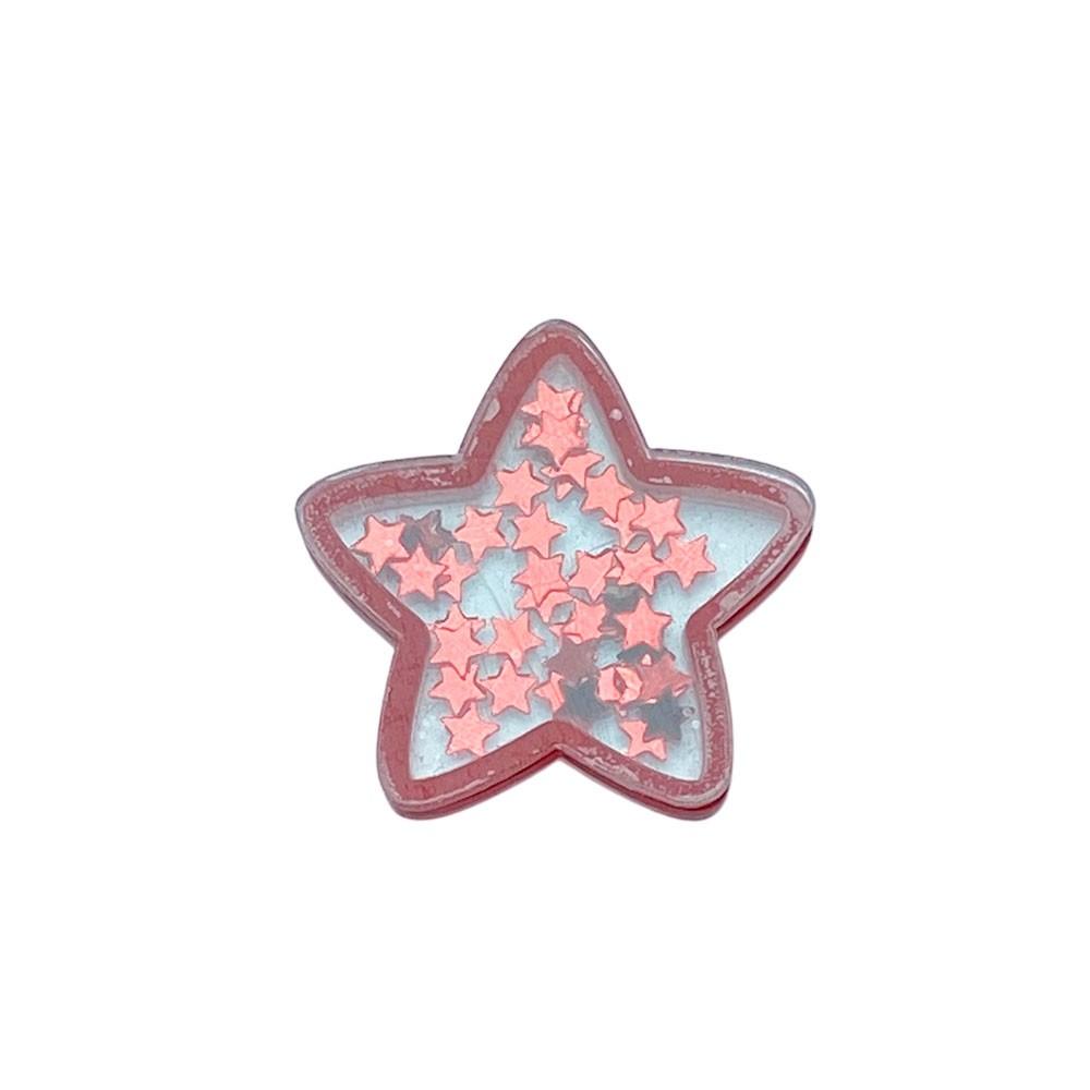 Aplique Vazado de Acrílico Estrela de Natal Vermelha Glitter (unidade)