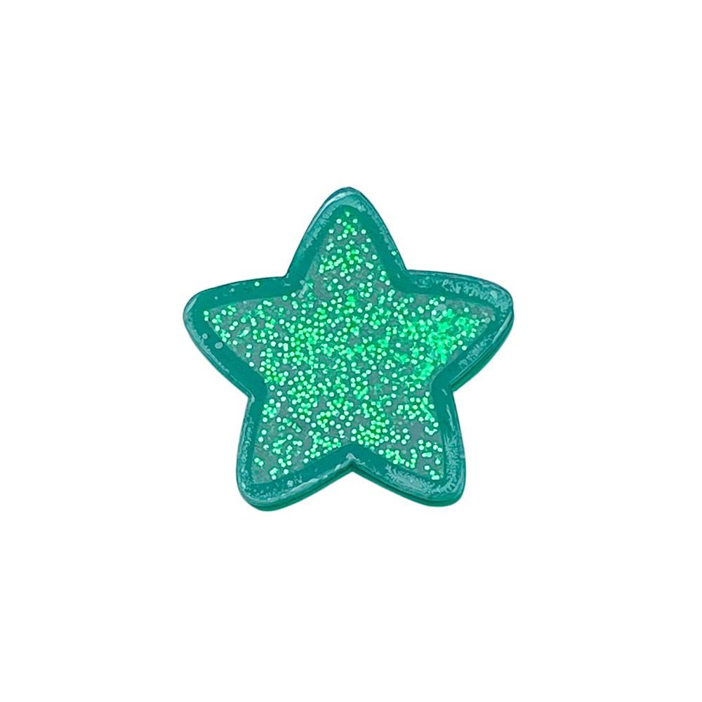 Aplique Vazado de Acrílico Estrela de Natal Verde Glitter (unidade)