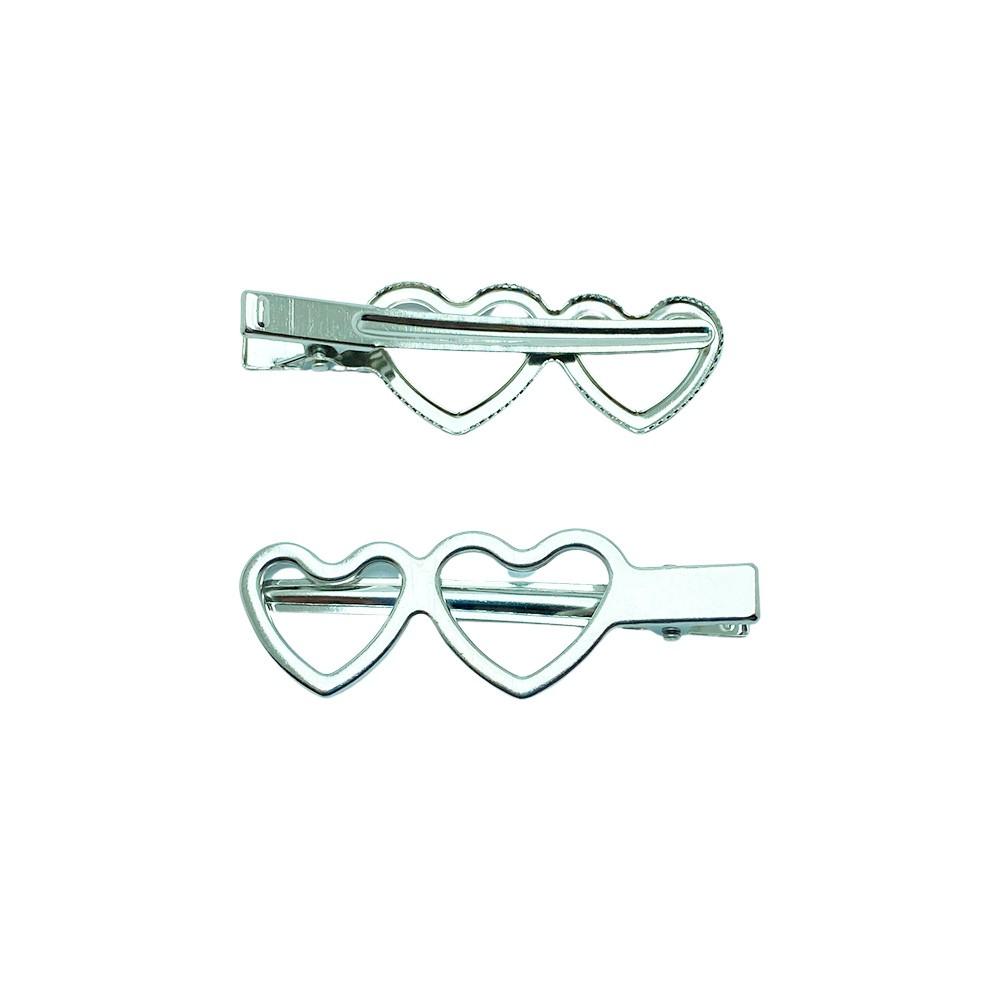 Bico de Pato Prata - Coração Duplo 7,0cm / Pct 10 unidades