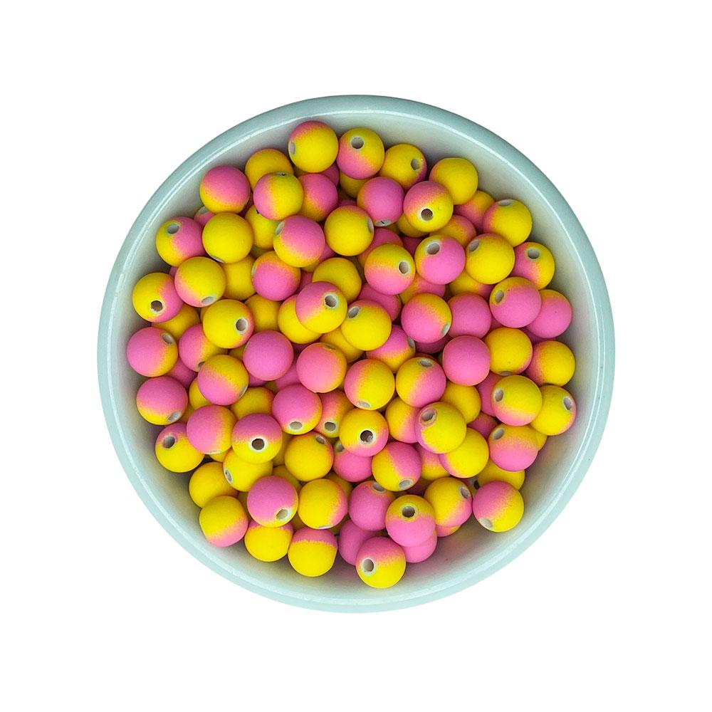Bola Leitosa Fosca Rosa com Amarelo 8mm Tipo emborrachada com 25 Gramas