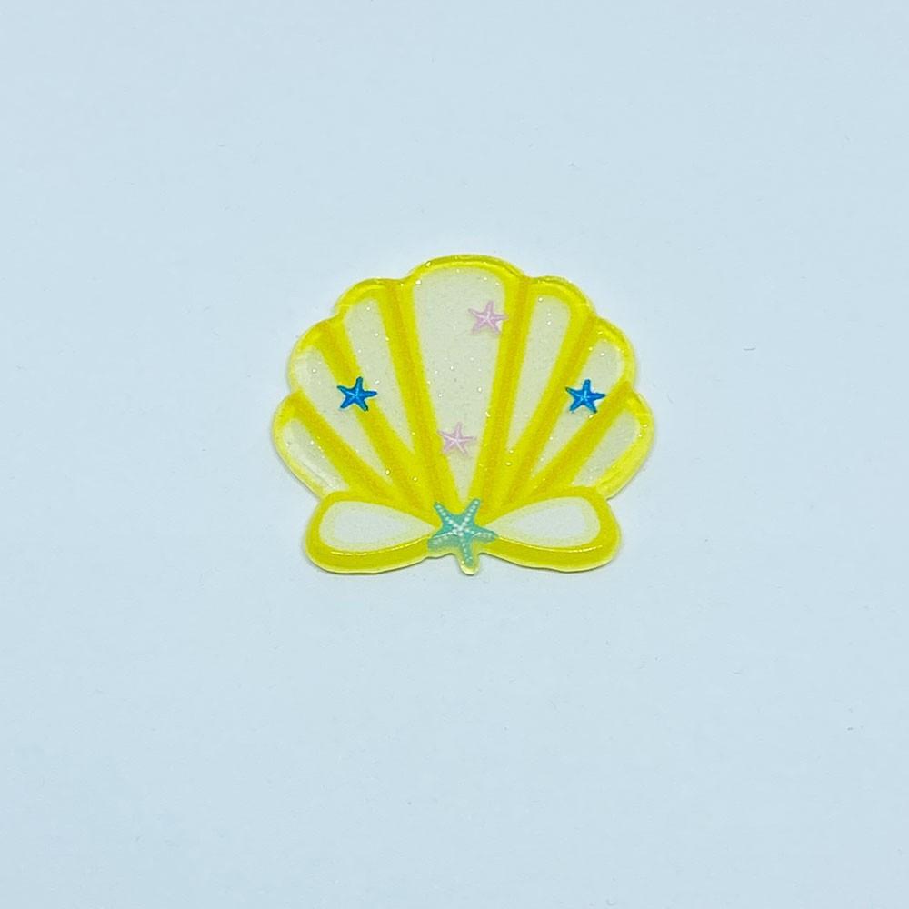 Concha Acrilico com Glitter transparente Unidade