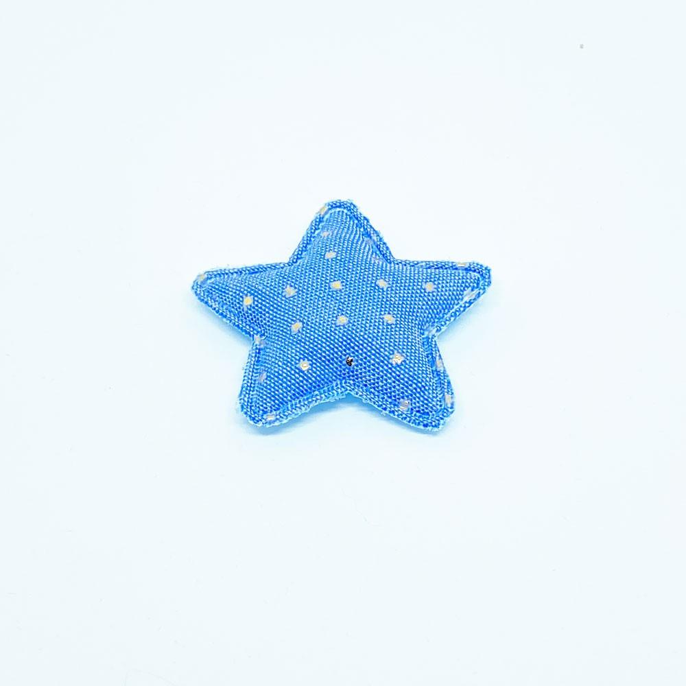 Estrela Almofadada Jeans com Poá