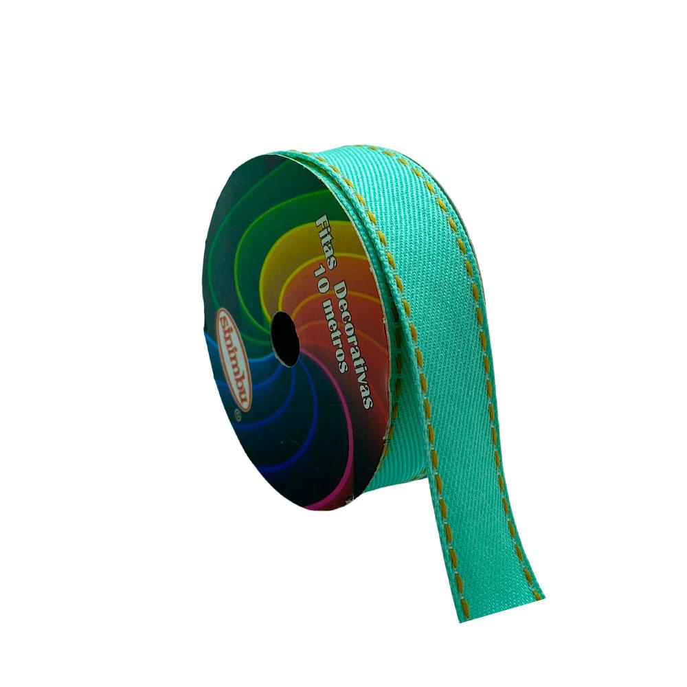 Fita com pesponto Sinimbu Verde Claro 22mm com 10 Metros