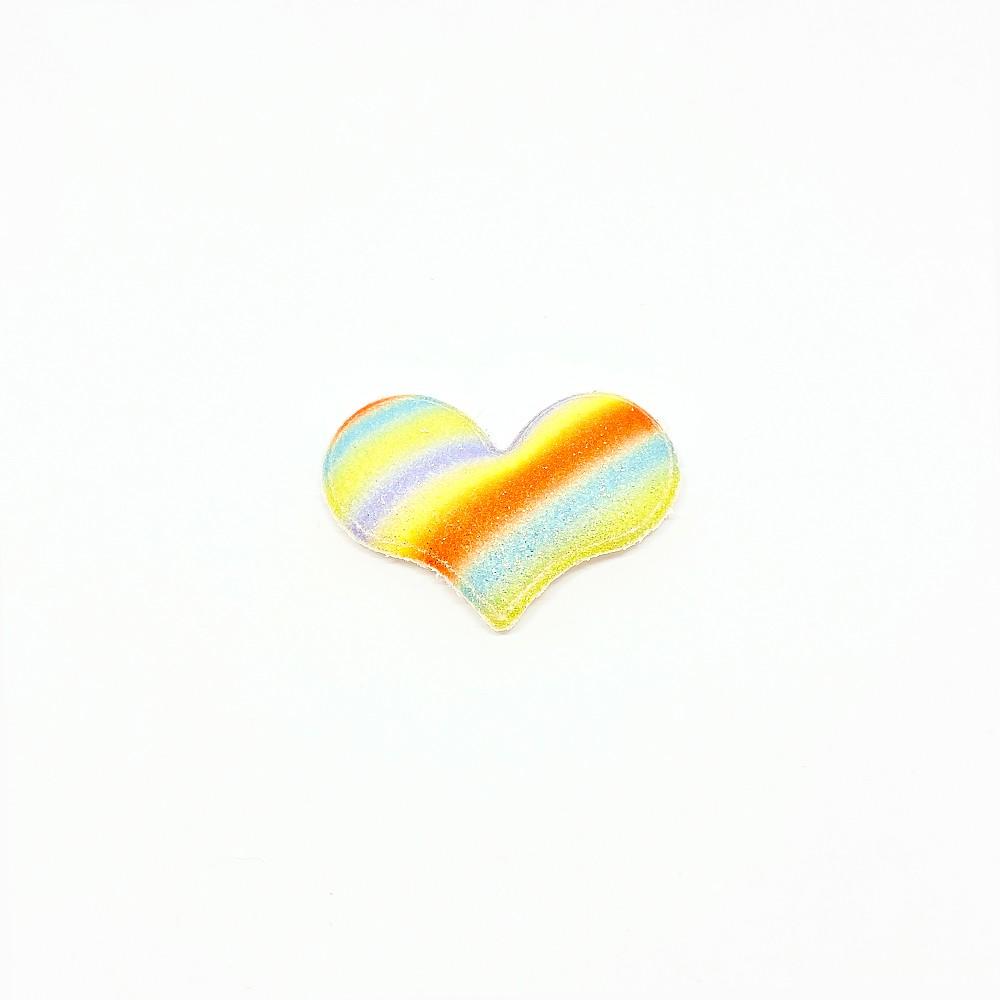 Coração Almofadado Arco-íris candy  5cmx4cm