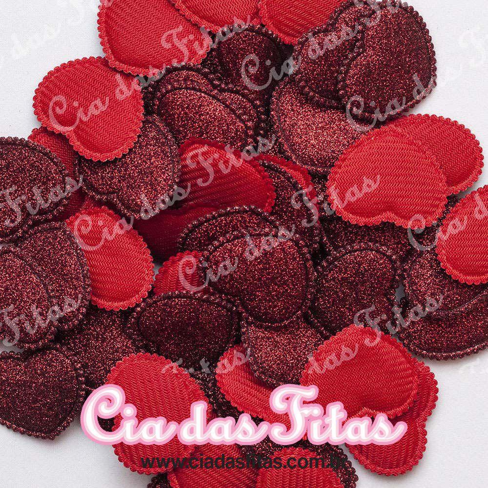 Coração Almofadado com Glitter 5 Unidades