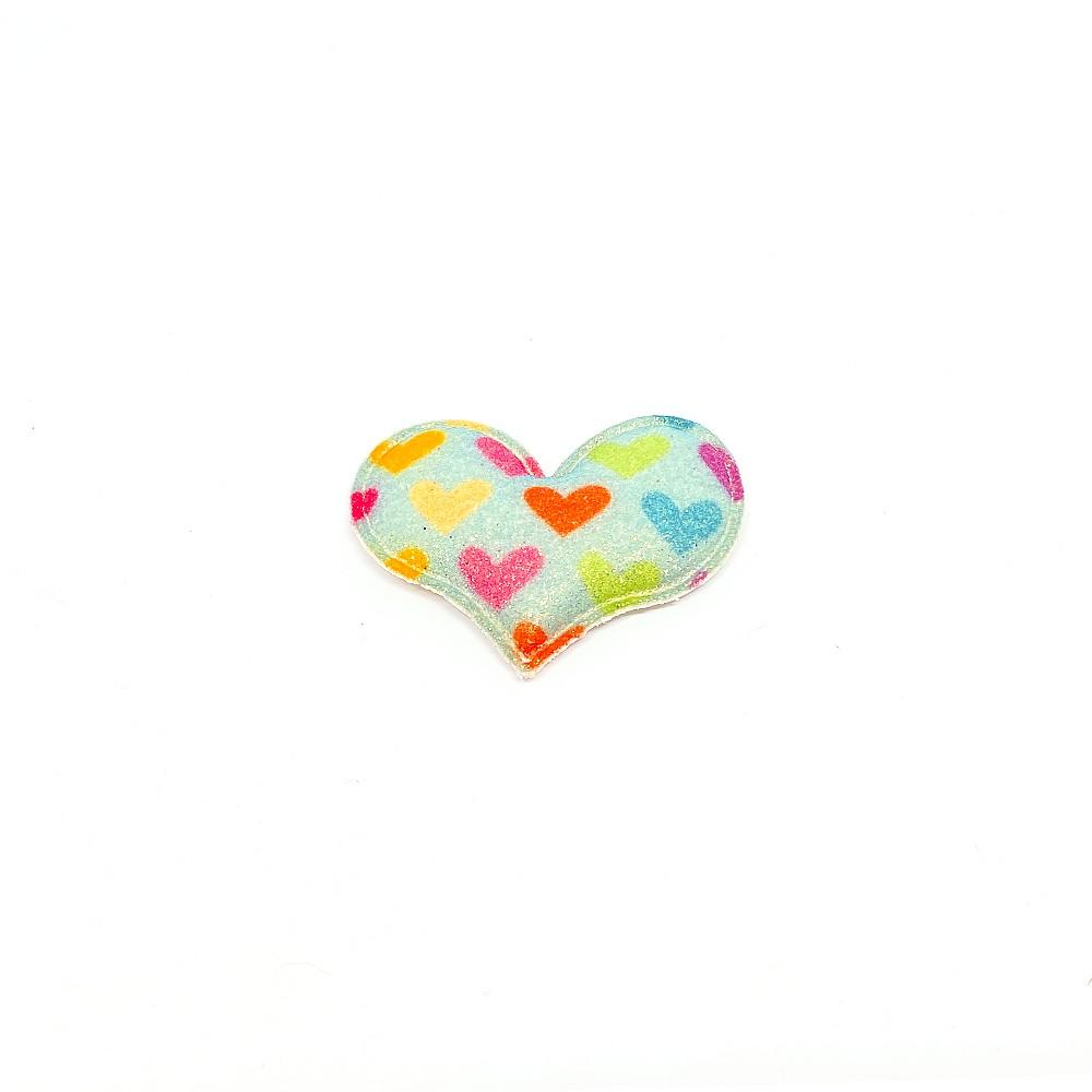Coração Almofadado coração Colorido 5cmx3,5cm