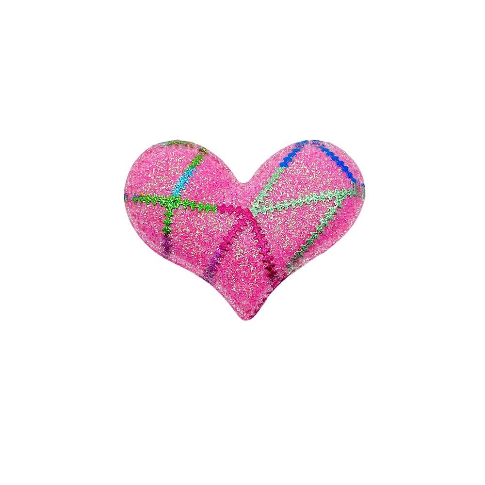 Coração Almofadado detalhe Metalizado 5,2x3,0cm
