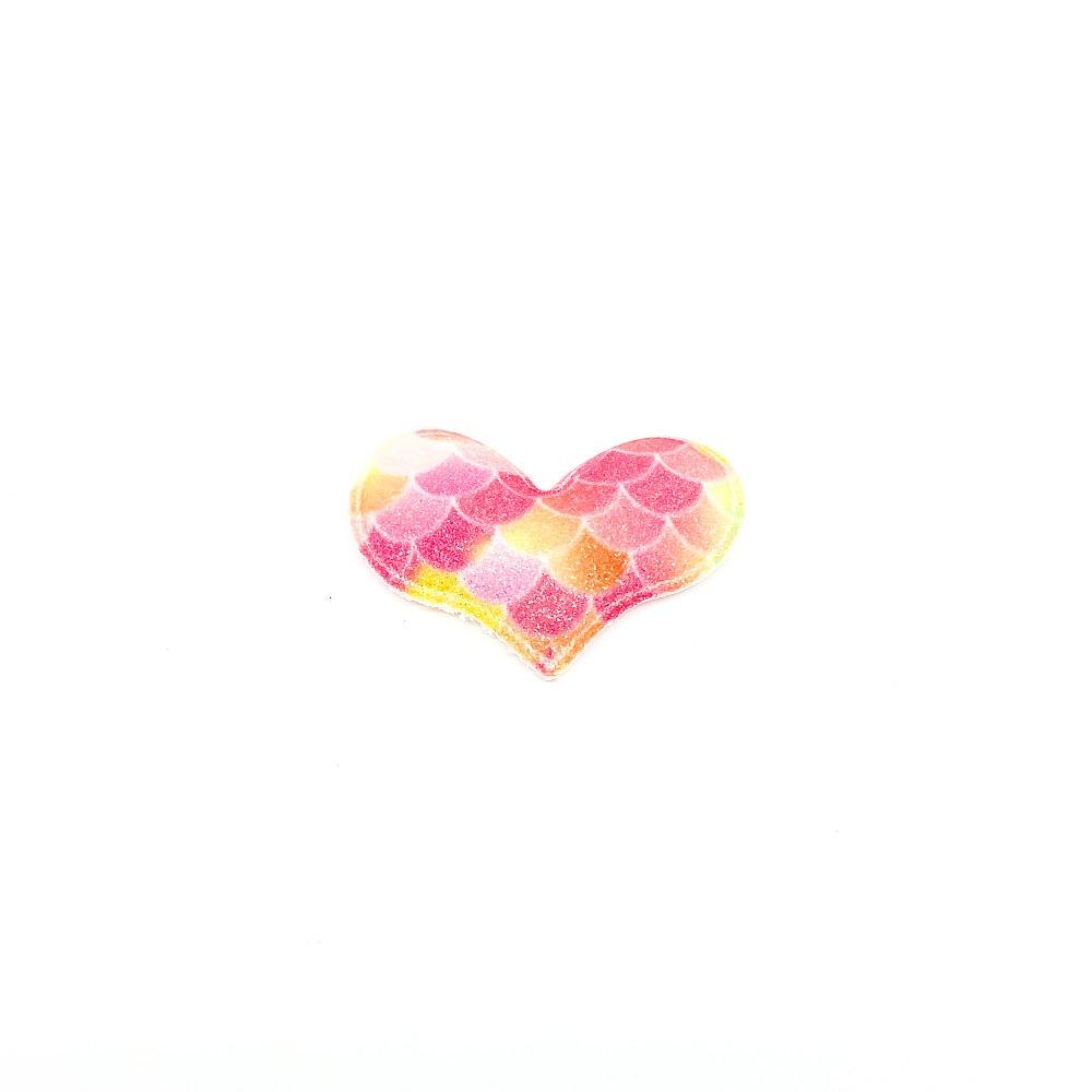 Coração Almofadado Escama Colorida 5cmx3,5cm