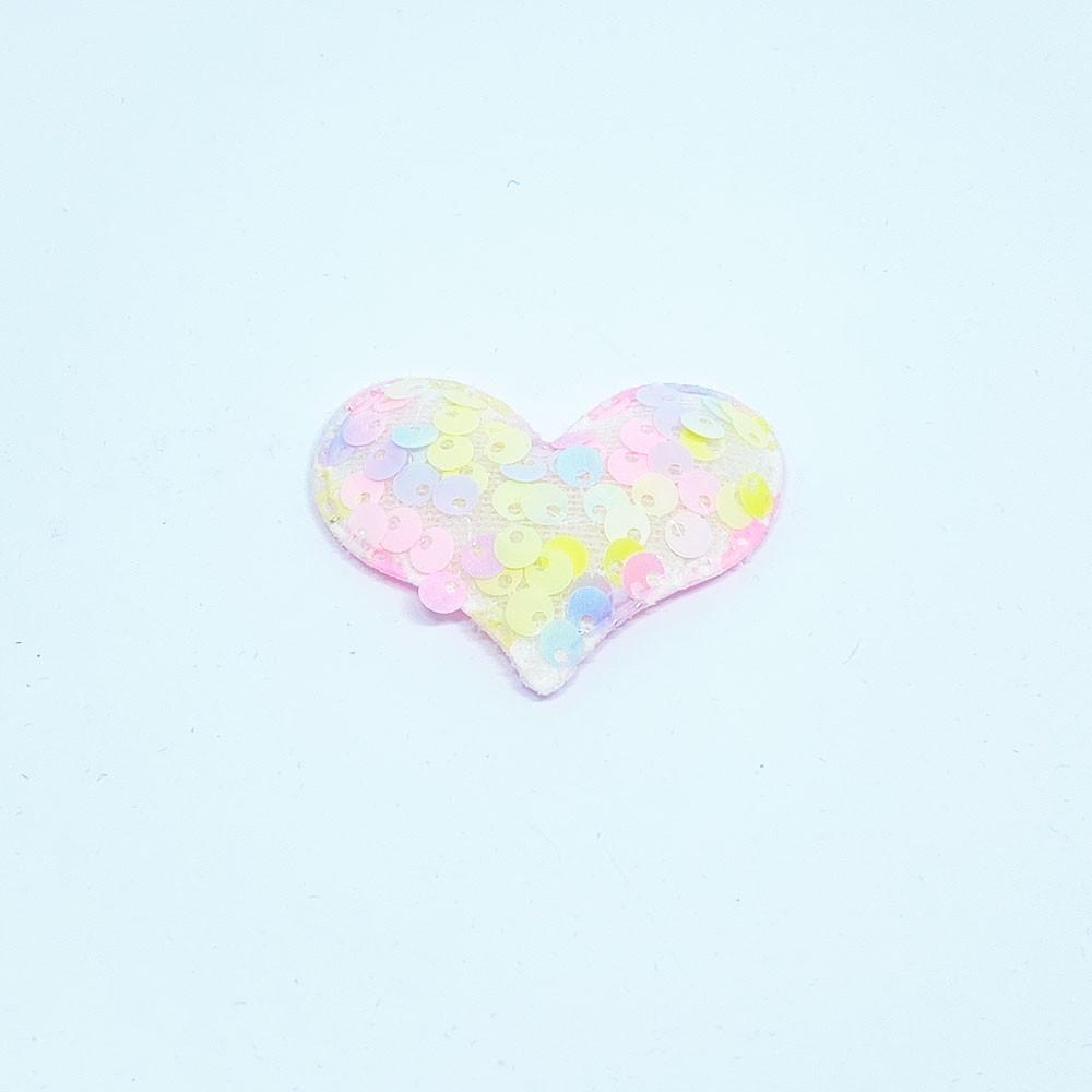 Coração Almofadado Paetê Colorido 5cm x 4cm