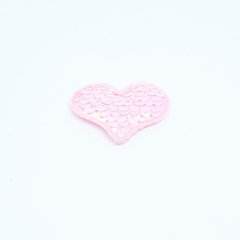 Coração Almofadado Paetê Rosa 5cm x 4cm