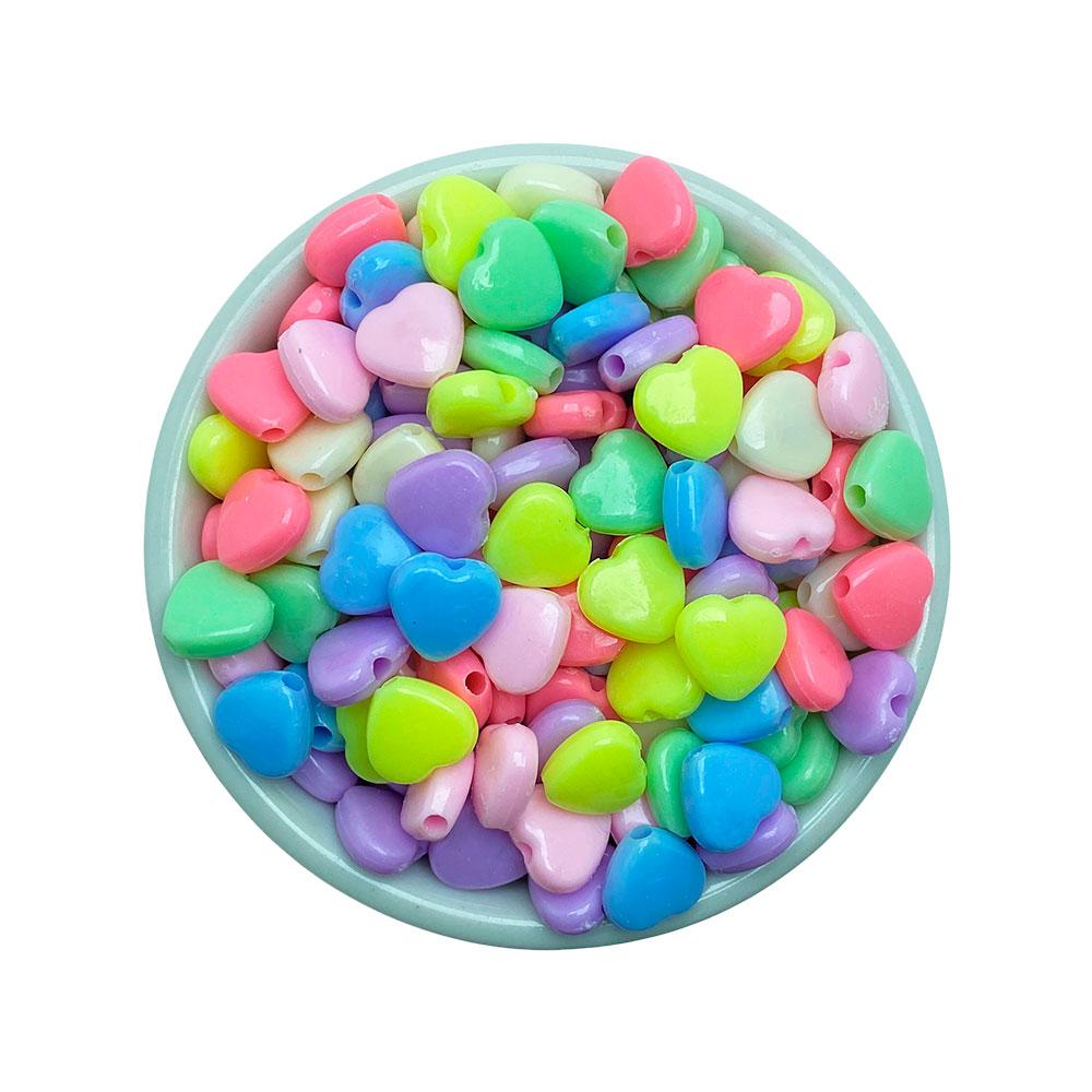 Coração Colorido 10mm em Plástico - 25 Gramas