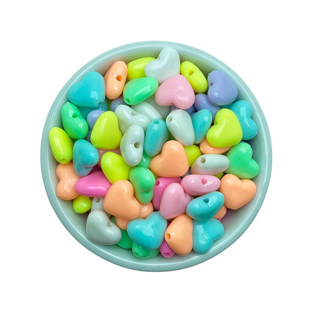 Coração Colorido 19*12mm em Plástico - 25 Gramas