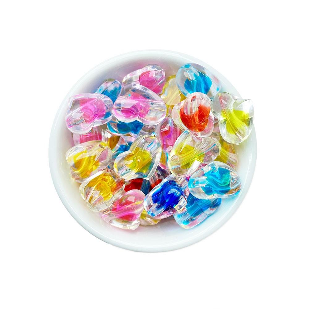 Coração com Miolo colorido Transparente 22x15mm em Acrílico com 25g