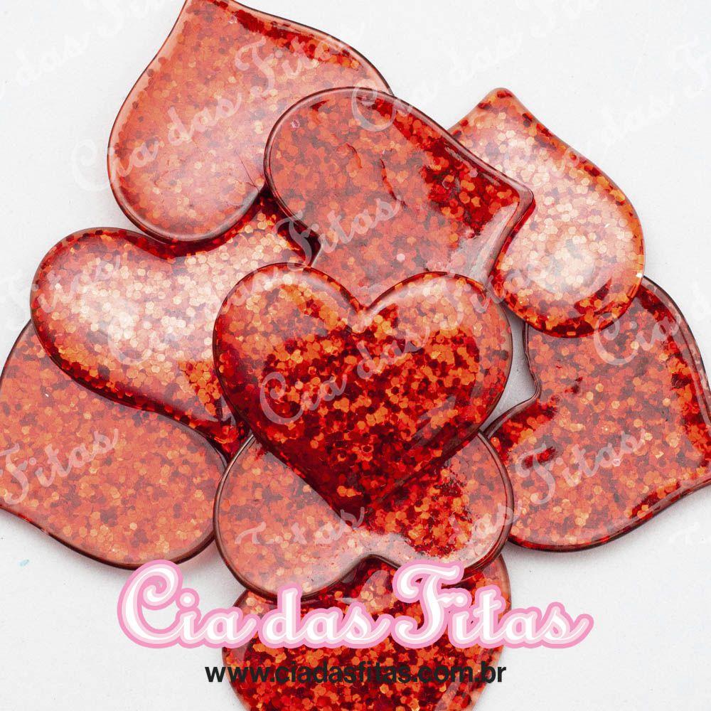 Coração de Resina com Glitter 3,5cm x 3,0cm