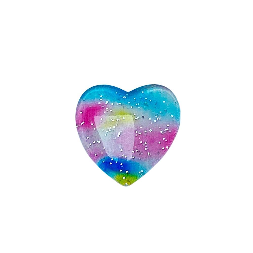 Coração de Resina Colorida Rosa 2,6cm