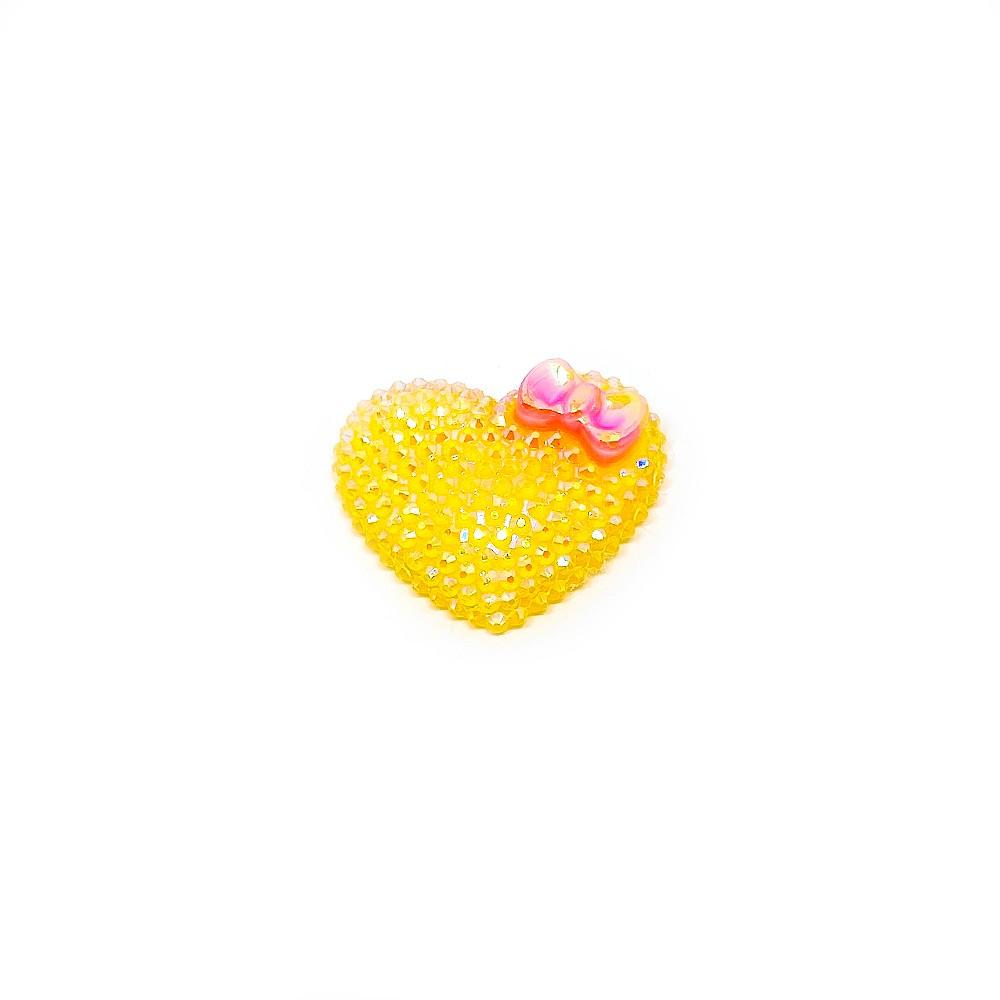 Coração de Resina com Brilho 3,5cm x 2,5cm