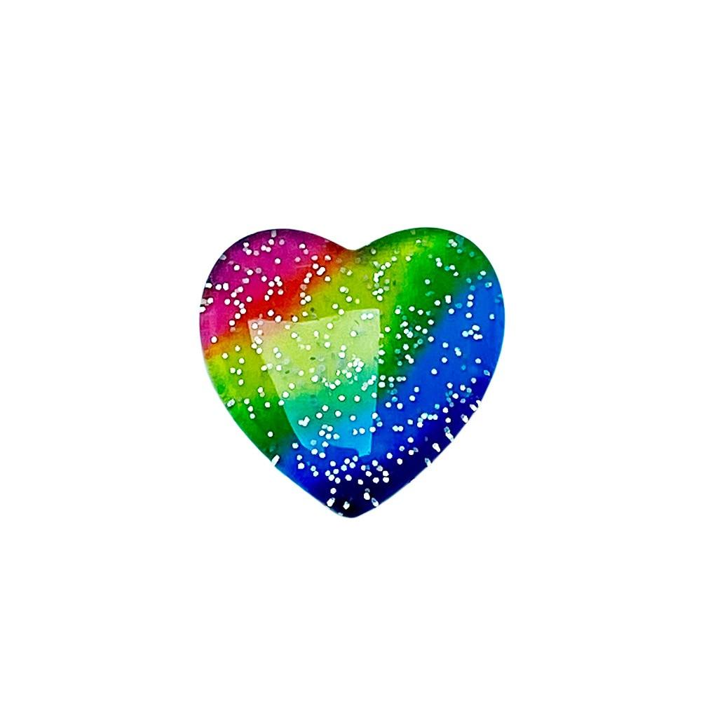 Coração de Resina Glitter Arco-Iris 2,6cm
