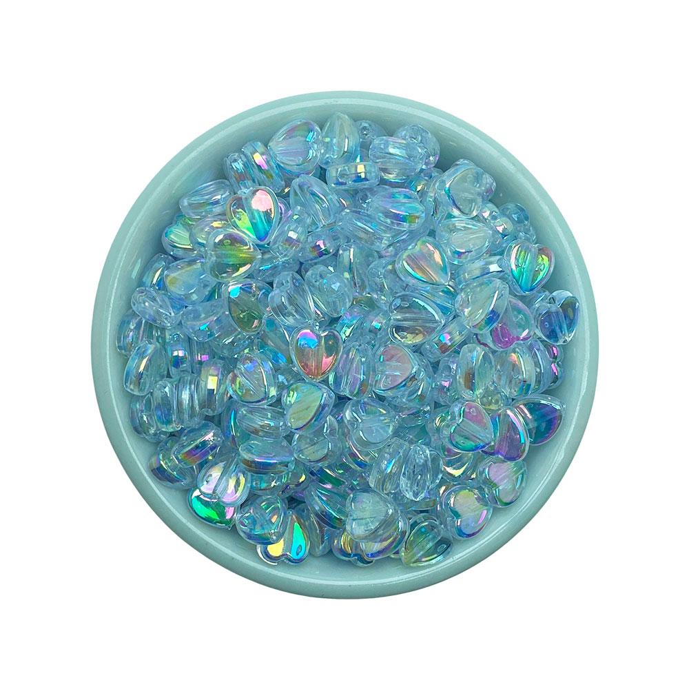 Coração Transparente 8mm Furta-Cor em Plástico - 25 Gramas