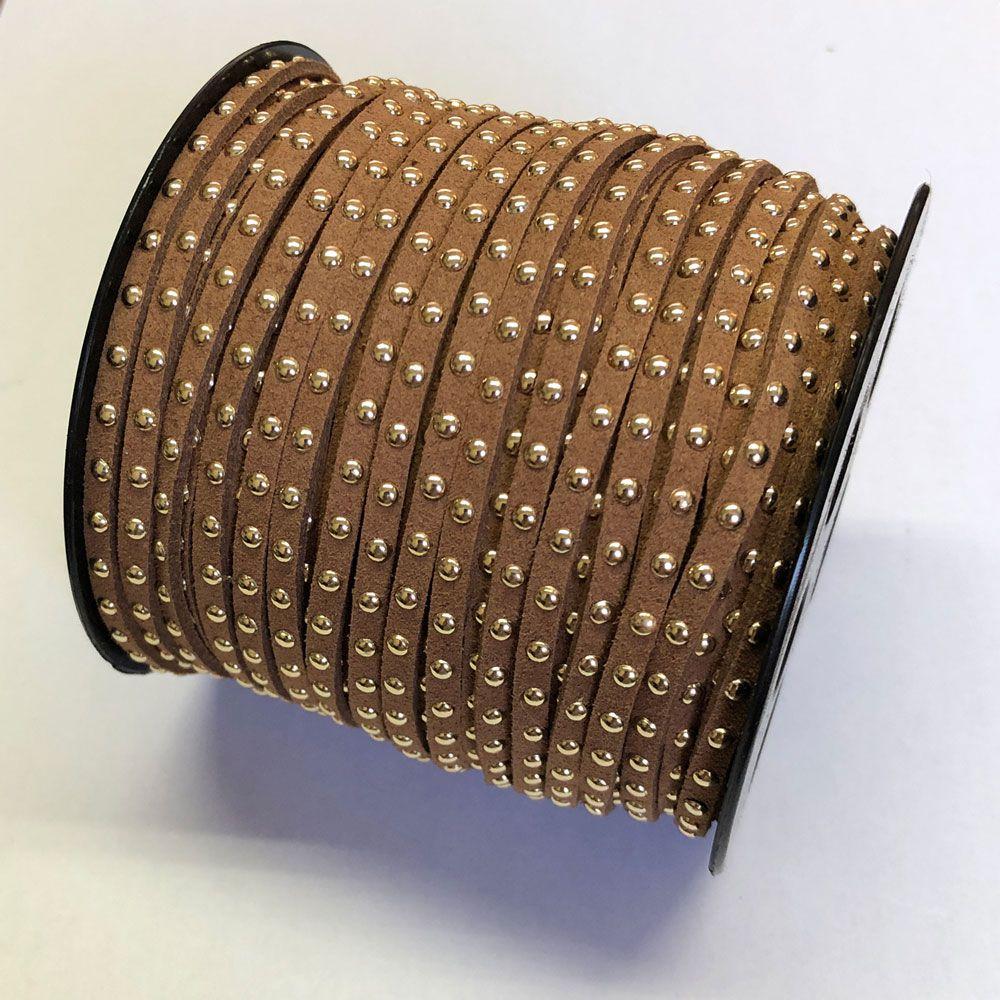 Cordão de Camurça com Spike 3.0mm 1Mt