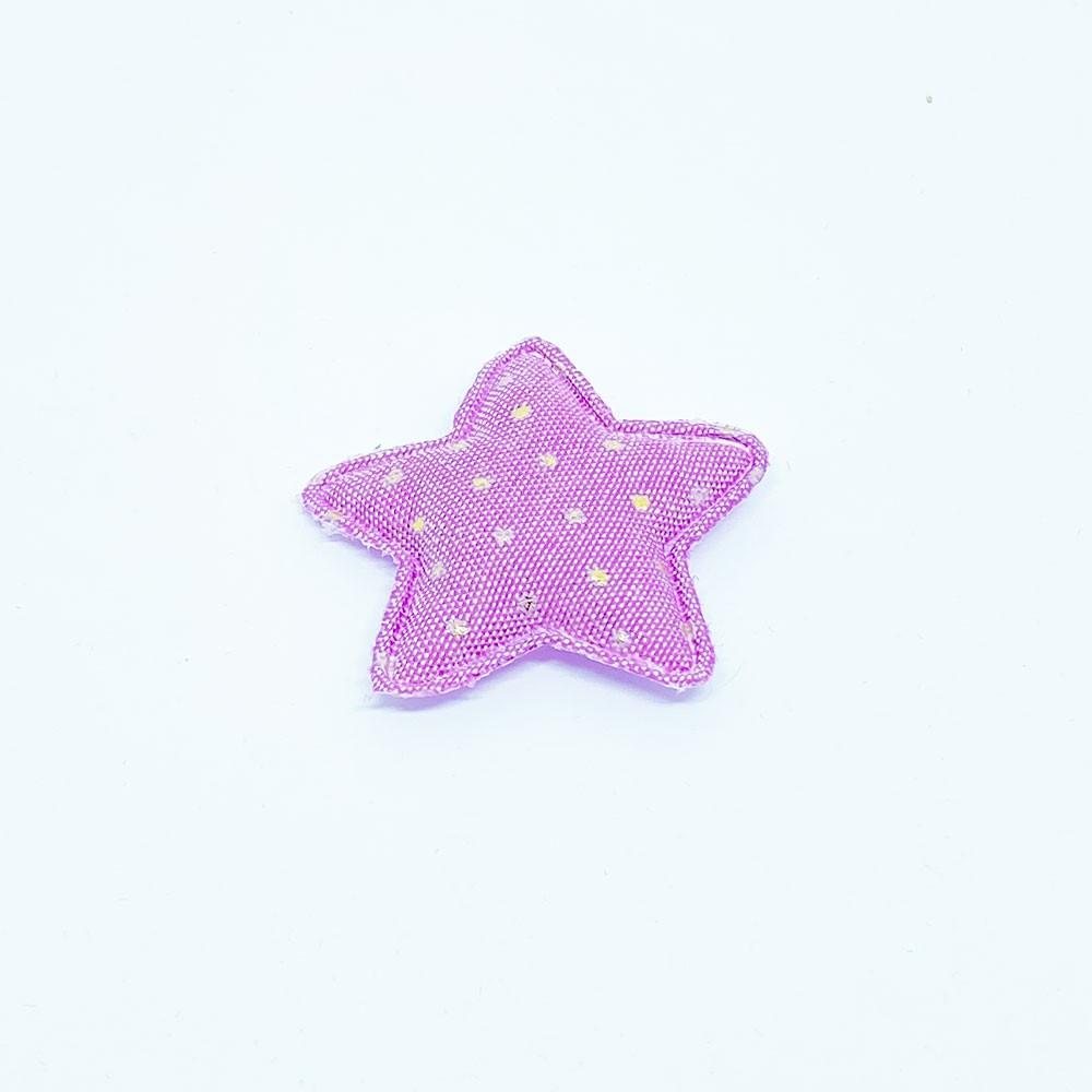 Estrela Almofadada Jeans Lilas com Poá