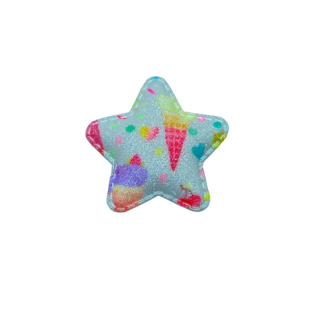 Estrela Almofadado Branco Sorvetinhos e Cerejas 50x45mm