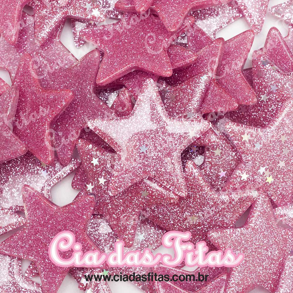 Estrela de Resina com Glitter c/ Estrela 3,5cm