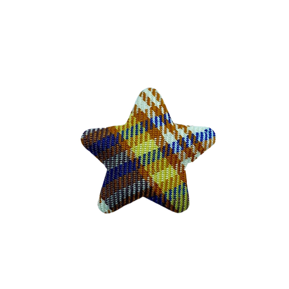 Estrela de Tecido Quadriculada Xadrez 4cm