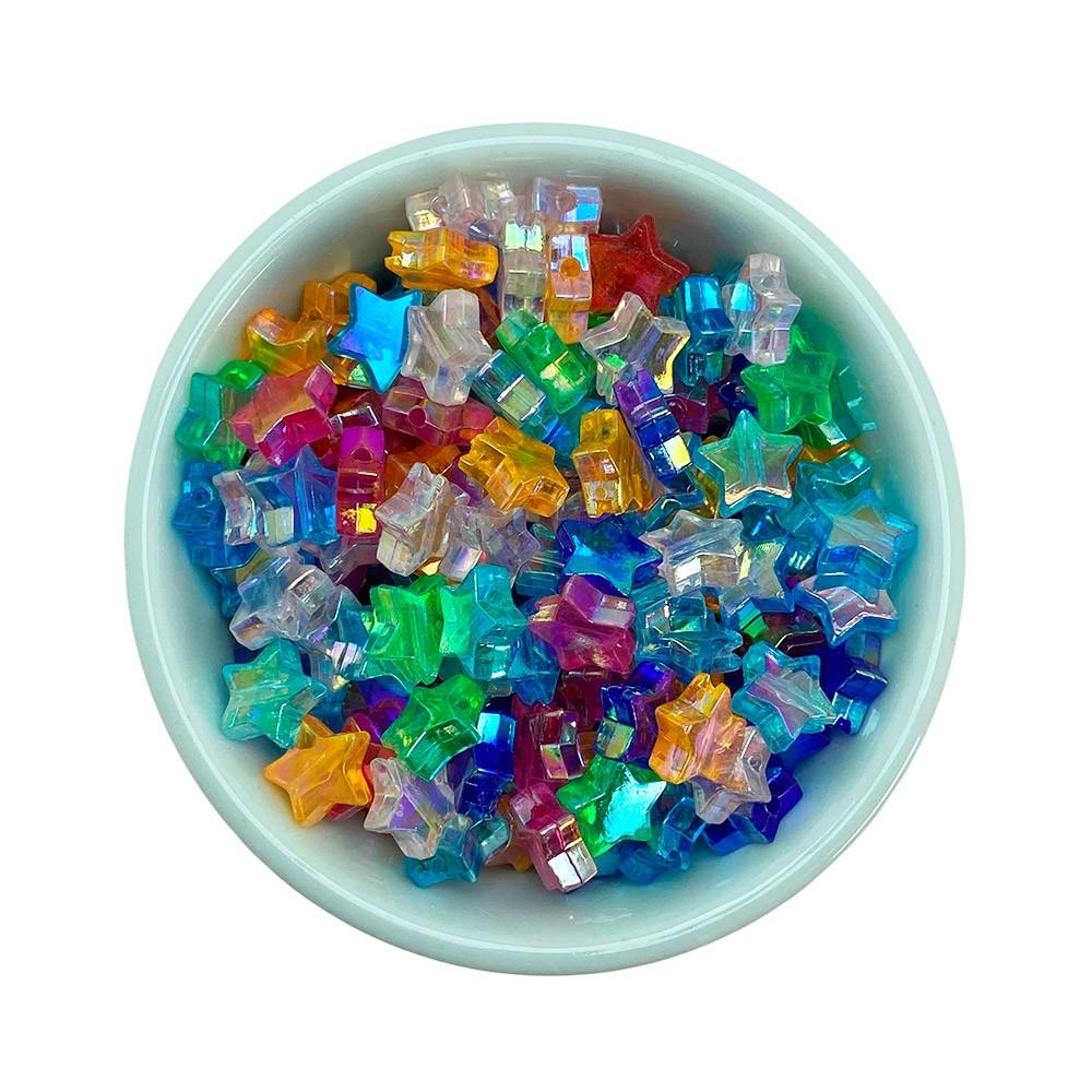 Estrela Transparente colorida 10mm em Acrílico com 25g