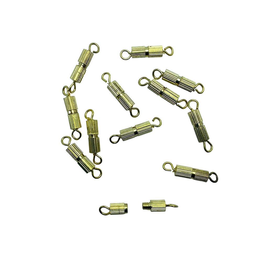 Fecho de Rosca com argola 10mm Dourado para pulseira - 12 unidades