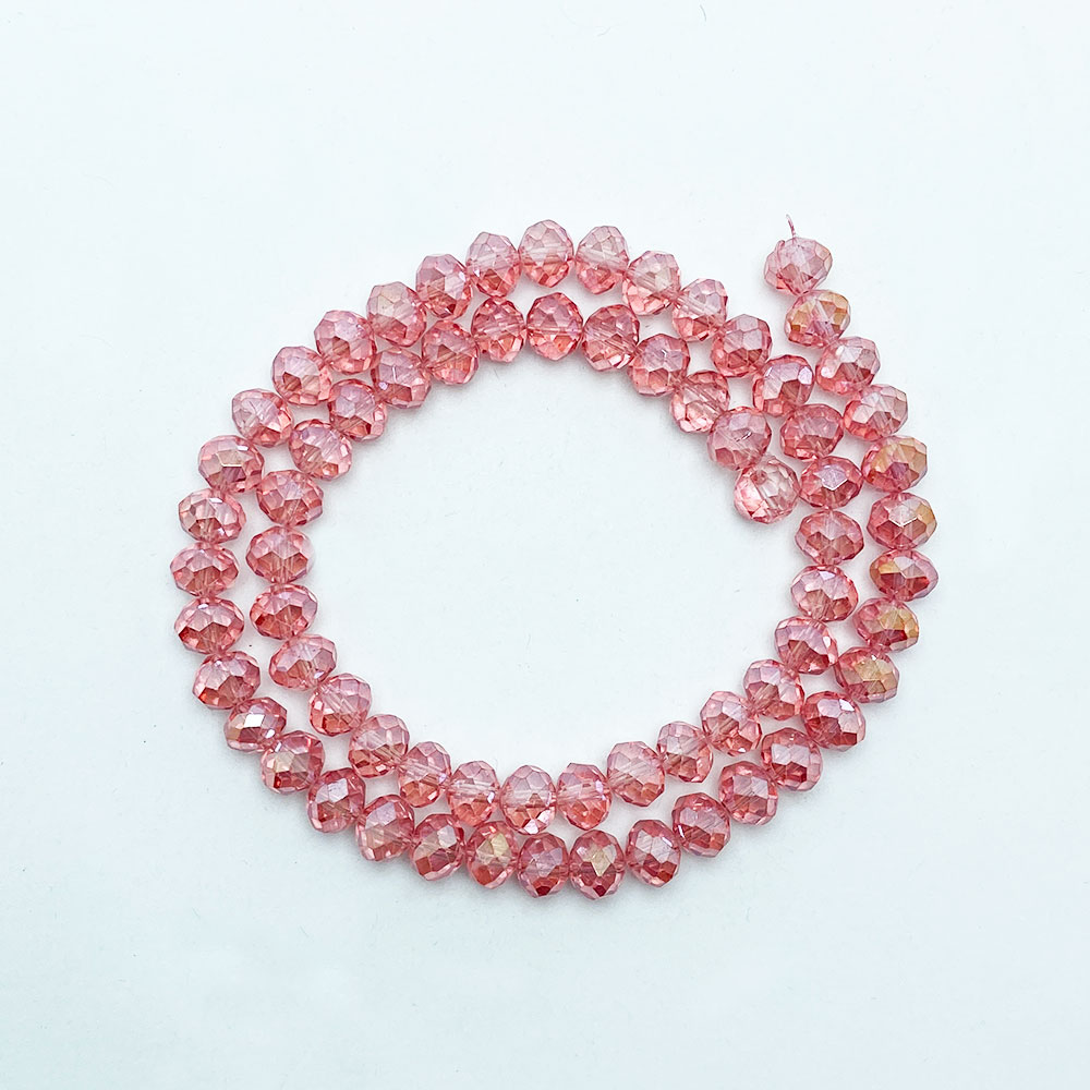 Fio Conta Cristal Rosa 8mm