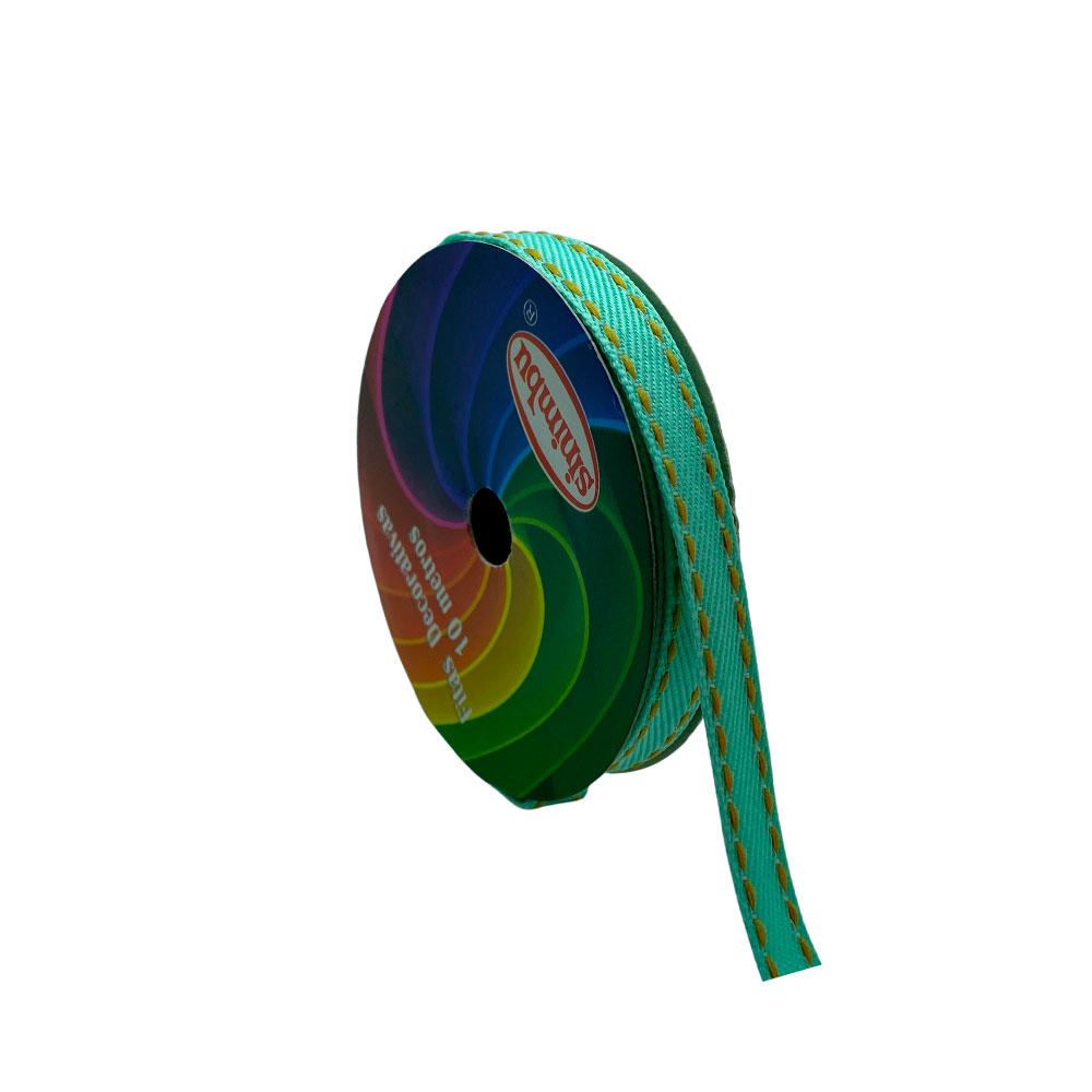 Fita com pesponto Sinimbu Verde Claro 10mm com 10 Metros