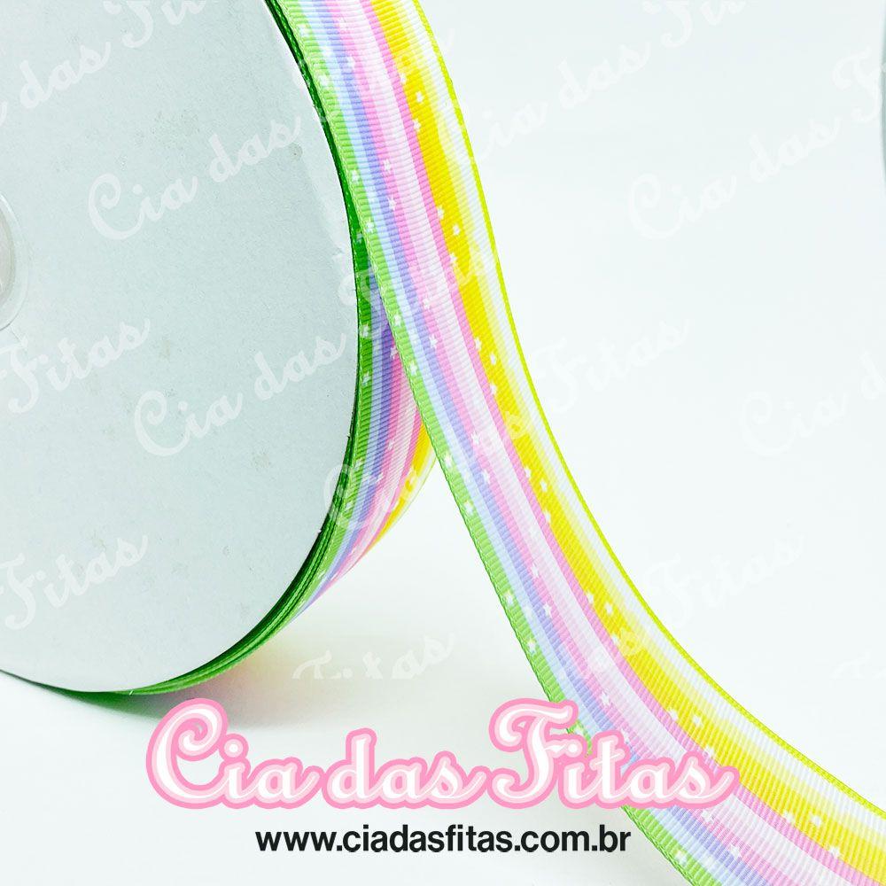 Fita de Gorgurão Arco-Iris com estrela 38mm x 5mts