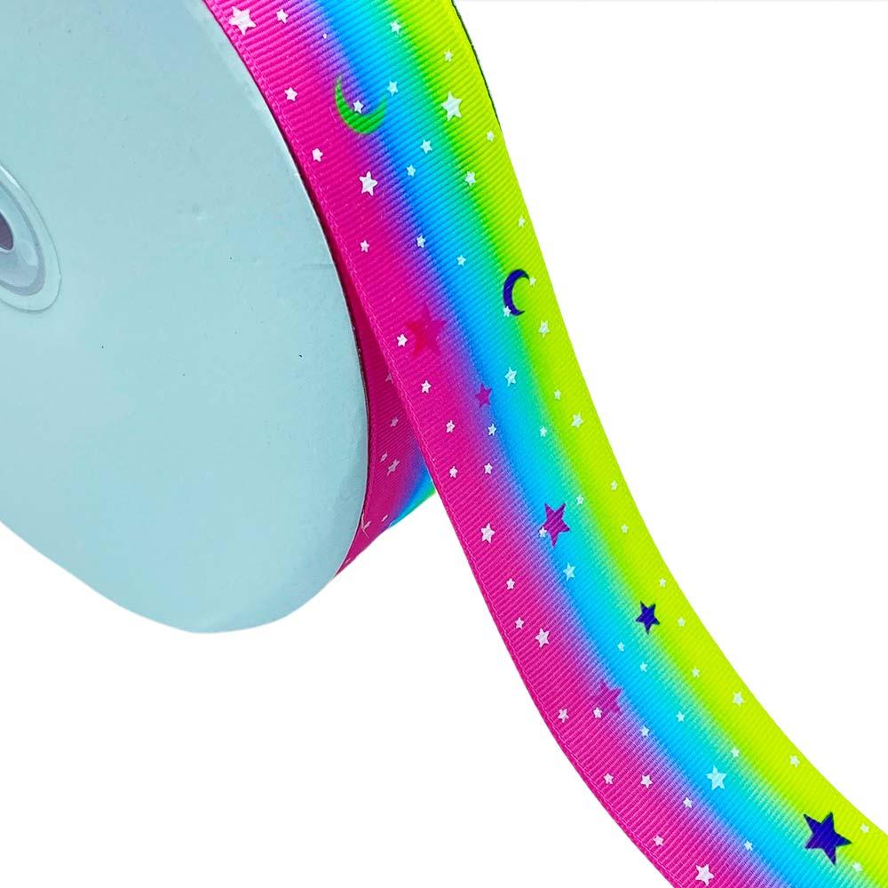 Fita de Gorgurão Arco-Iris Estrela Brilha no Escuro 38mm x 5mts