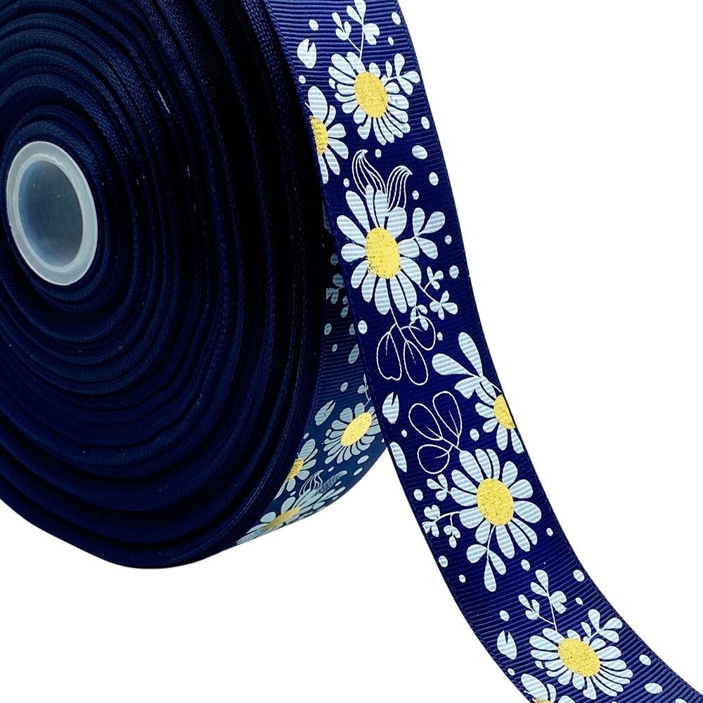 Fita de Gorgurão Azul Marinho Margarida Branca Miolo Dourado 38mm x 5mts