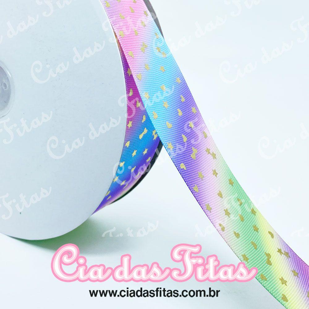 Fita de Gorgurão Colorida Degrade Diagonal Coração e Laço Mini 38mm x 5mts