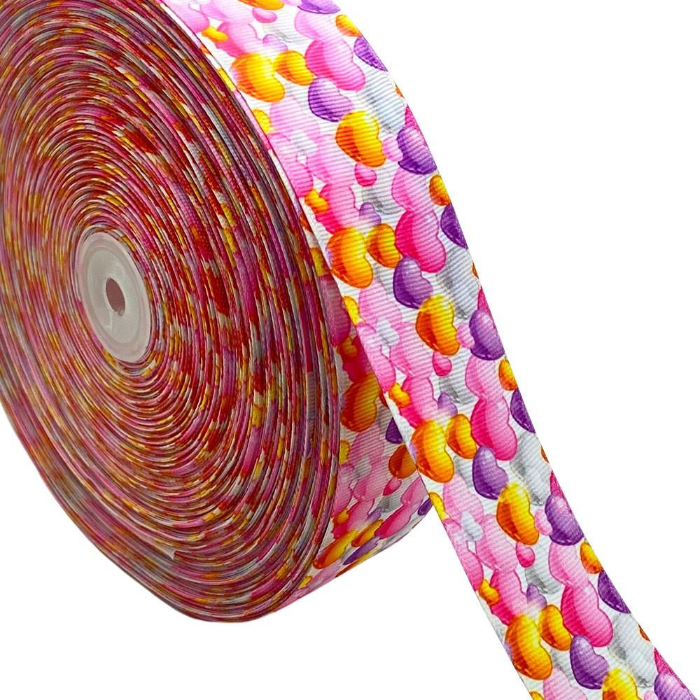 Fita de Gorgurão Coração Colorido GF 93 38mm x 5mts