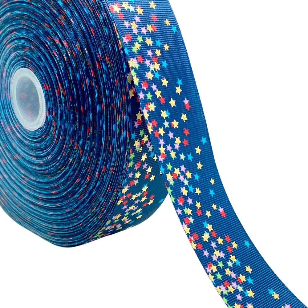Fita de Gorgurão Degrade Azul Marinho com Estrela colorida 38mm x 5mts